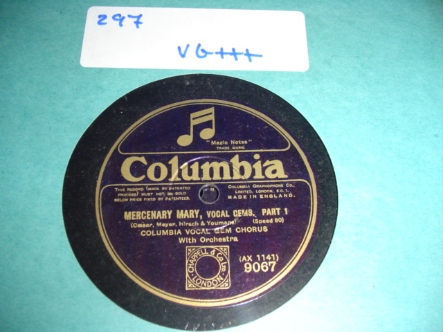 COLUMBIA VOCAL GEM CHORUS MERCENARY MARY { 297