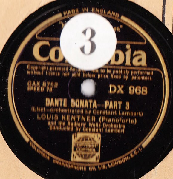 Louis Kentner Piano - Liszt Dante Sonata - Columbia DX.967 / 968