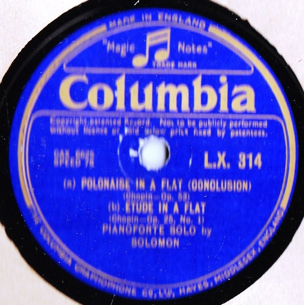 Solomon Piano - Chopin Polonaise in A Flat - Columbia LX.314