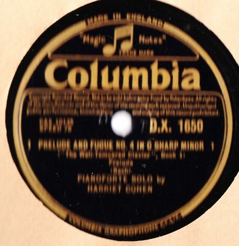 Harriet Cohen Piano - Bach Prelude & Fugue - Columbia DX.1650