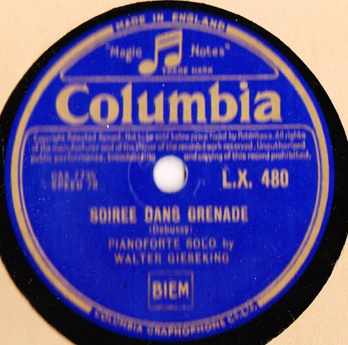Walter Gieseking Piano - Debussy Soiree Grenade - Columbia LX480
