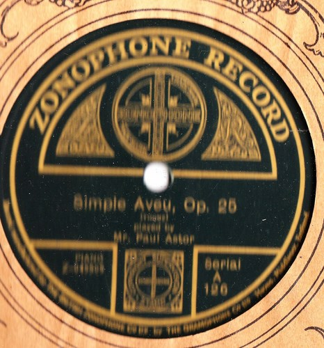 Paul Astor Piano - Simple Aveu - Zonophone A.126
