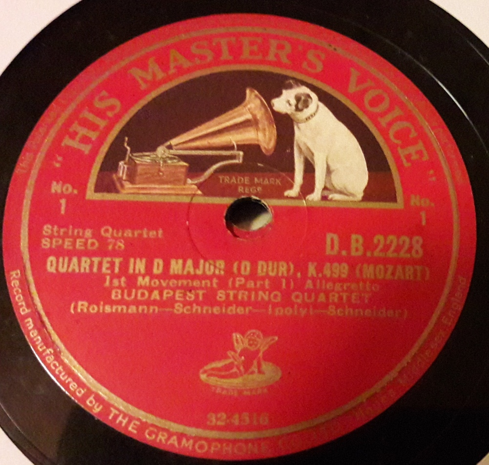 HMV DB.2228/30 - Mozart Quartet in D Major - Budapest Quartet
