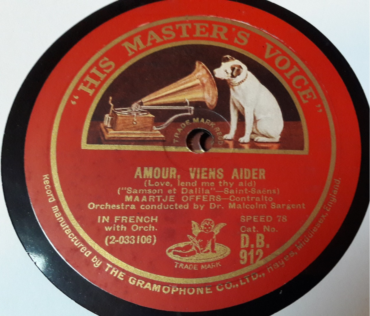 Maartje Offers Contralto - Amour Viens Aider - HMV DB.735