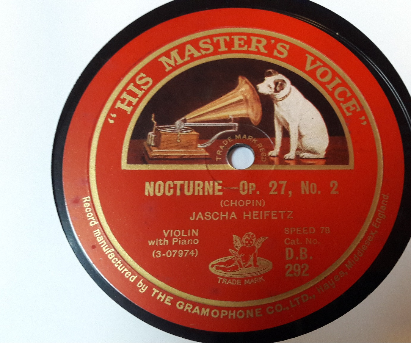 HMV DB292 - Jascha Heifetz Violin - Rondo in C Major / Nocturne