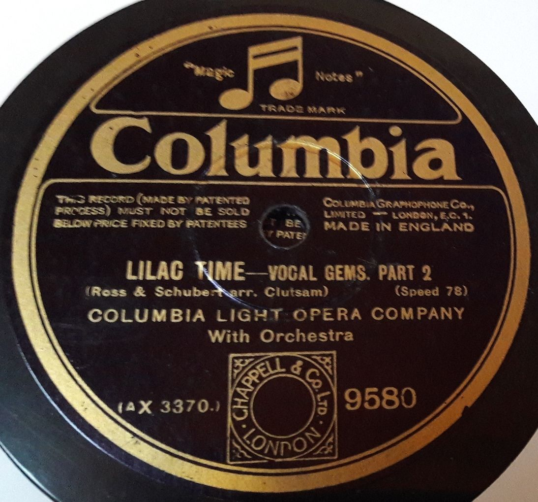 Columbia 9580 - Columbia Light Opera Company - Lilac Time Vocal