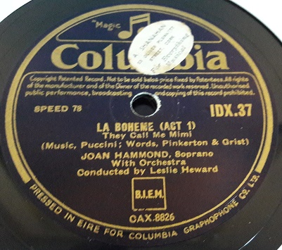 Joan Hammond Soprano - La Boheme - Columbia IDX.37 Irish