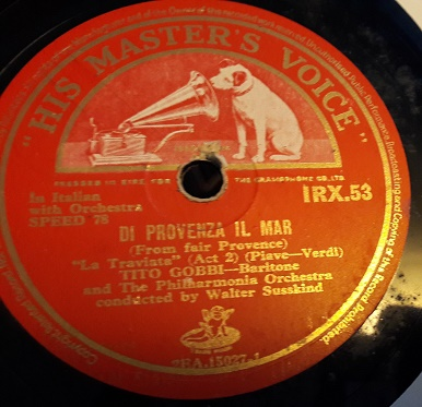 Tito Gobbi - Di Provenza il Mar - HMV IRX.53 Irish Excellent