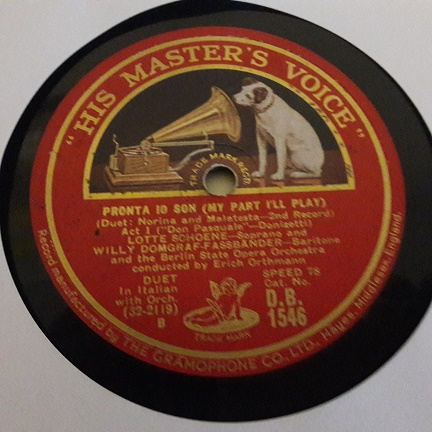 Lotte Schoene & Willy Domgraf Fassbander - HMV DB.1546
