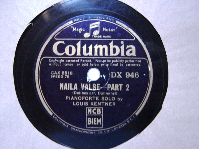 Louis Kentner Piano - Delibes Naila Valse - Columbia DX.946