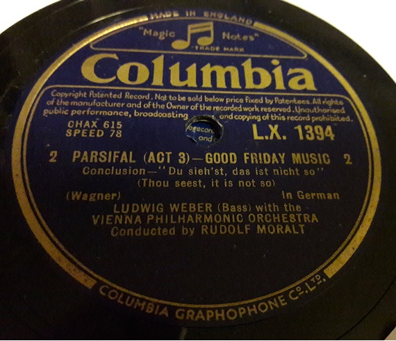 Ludwig Weber - Parsifal Good Friday - Columbia LX.1394 N-