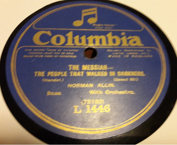 Norman Allin Bass - The Messiah - Columbia L.1446 E