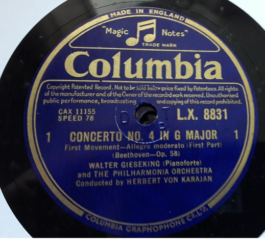 Walter Gieseking - Beethoven Piano Concerto .4 Columbia 4 X 78