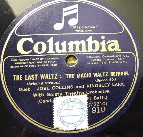 Jose Collins - The Last Waltz - Columbia 910 & 911 E+
