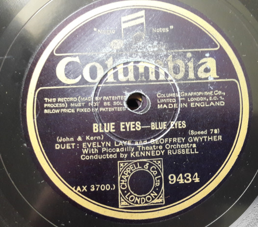 Evelyn Lane & Geoffrey Gwyther - Blue Eyes - Columbia 9434 E+