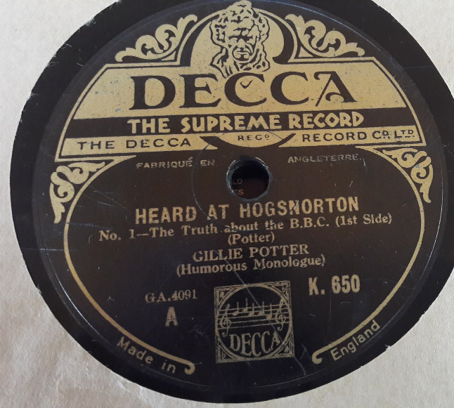 Gillie Potter - Heard at Herdsnorton - Decca K.650 E