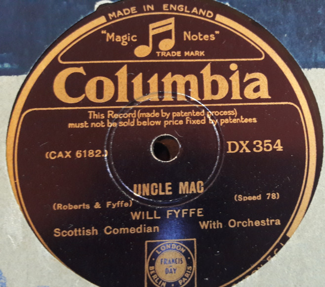 Will Fyffe - Uncle Mac - Columbia DX. 354 E+