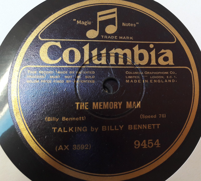 Billy Bennett - The Memory Man - Columbia 9454 E+