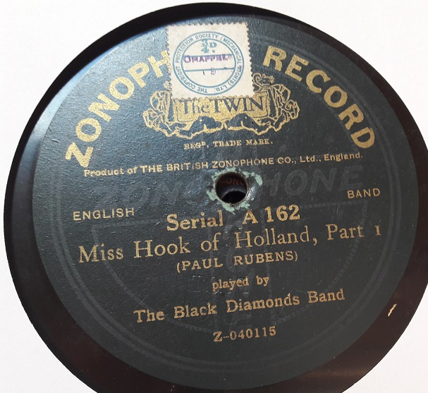 Black Diamonds Band - Miss Hook Holland - Zonophone A.162