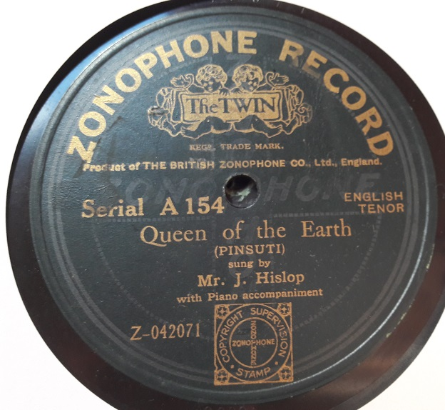 Mr J Hislop - Good-Bye / Queen of Earth - Zonophone A.154