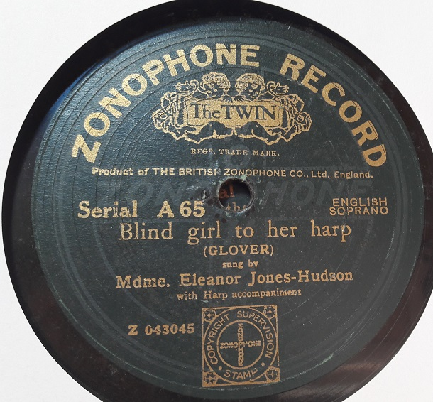 Eleanor Jones Hudson - Blind Girl to her Harp - Zonophone A.65