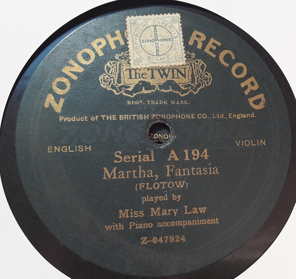 Miss Mary Law Violin - Martha Fantasia - Zonophone A.194