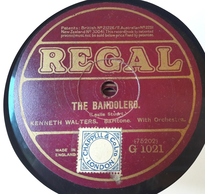 Kenneth Walters Baritone - The Bandolero - Regal G.1021