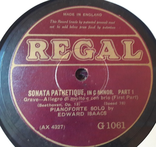 Edward Isaacs Piano - Sonata Pathetique - Regal G.1061 & 62