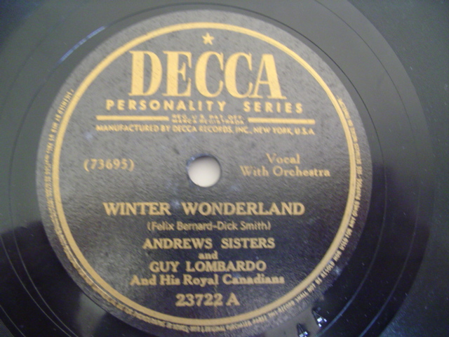 ANDREWS SISTERS - WINTER WONDERLAND - DECCA 23772