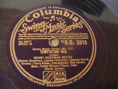 BENNY GOODMAN - TEMPTATION RAG - COLUMBIA 3315 { 1920