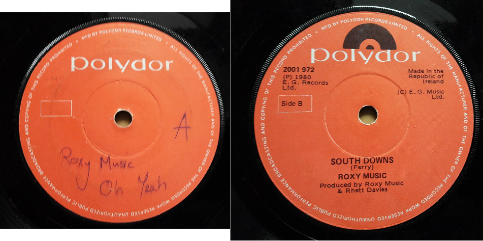 Polydor 2001972 - Roxy Music Oh Yeah - Rare Label 1980 Irish