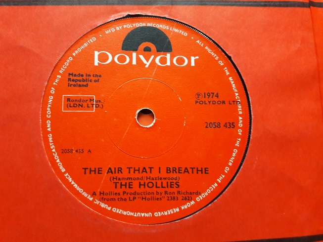 Polydor 2058435 - The Hollies - Air that I beathe - 1973 Irish