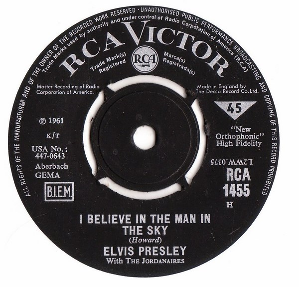 Elvis Presley - Crying in the Chapel - RCA 1455 - UK