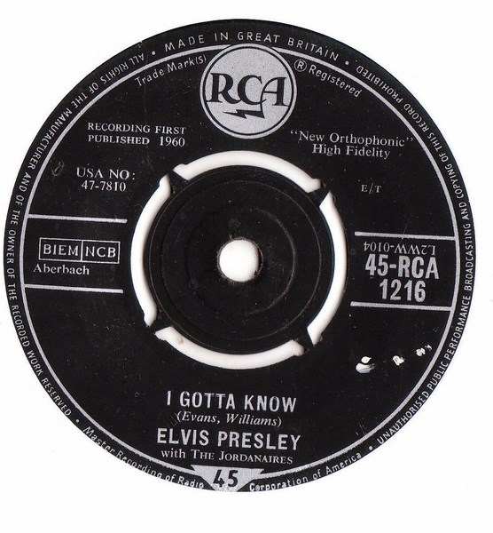 Elvis Presley - Are you lonesome tonight - RCA 1216 - UK