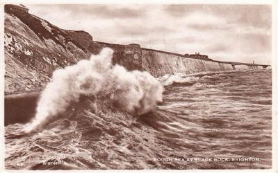 Brighton - Rough Seas at Black Rock - Real Photo