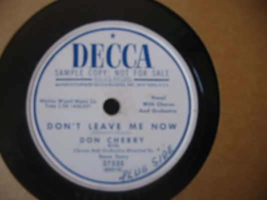 DON CHERRY - DONT LEAVE ME NOW - DECCA PROMO 27535