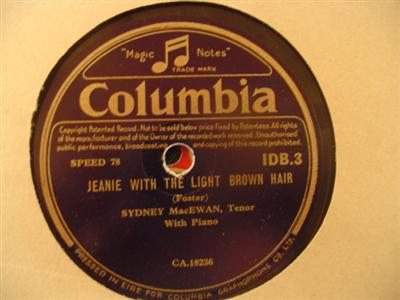 SYDNEY MacEWAN - JEANIE LIGHT BROWN - COLUMBIA { 1938