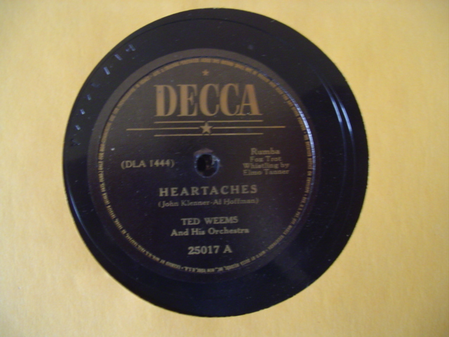 TED WEEMS - HEARTACHES - DECCA 25017 { 1306