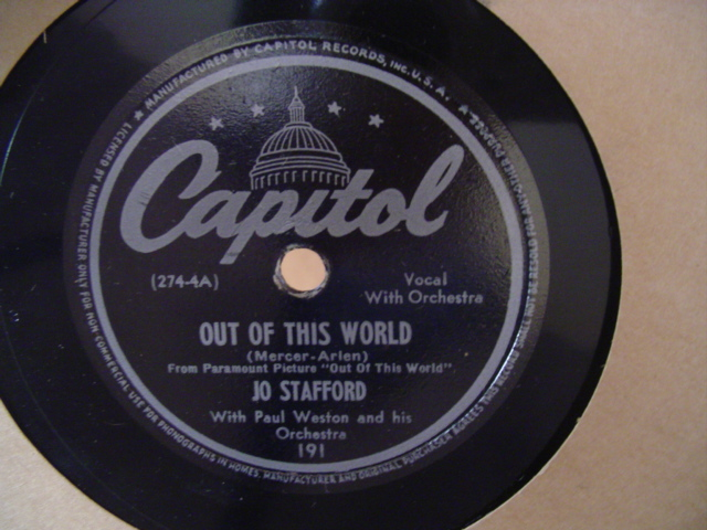 Jo Stafford - OUT OF THIS WORLD - CAPITOL 191