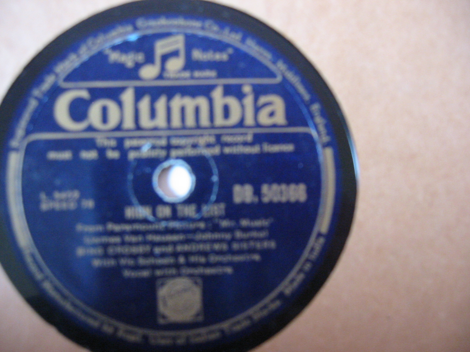 Bing Crosby & Andrews Sisters - High on list - Columbia India