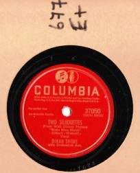 DINAH SHORE - Two Silhouettes - COLUMBIA 37050