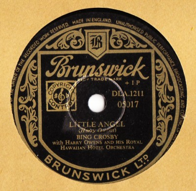 Bing Crosby - Little Angel - Brunswick UK