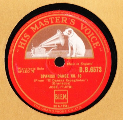 Jose Iturbi Piano - Granados Spanish Dance 5 & 10 - HMV DB 6573