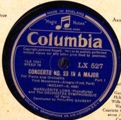 Marguerite Long - Mozart Concerto No 23 - Columbia 2 x 78