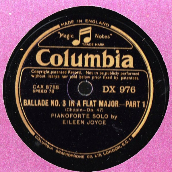Eileen Joyce Piano - Chopin Ballade No 3 - Columbia DX.976