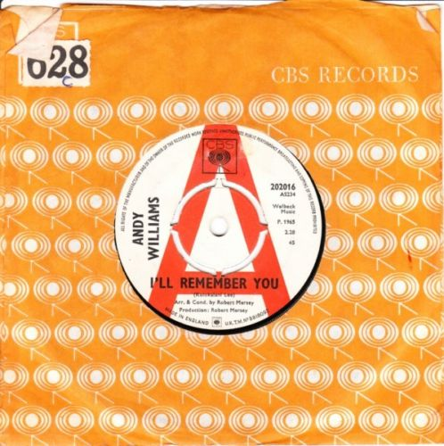 ANDY WILLIAMS - I'LL REMEMBER YOU - CBS DEMO 3234