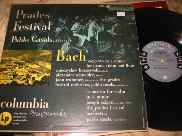 BACH - CONCERTO VIOLIN PIANO FLUTE - CASALS - COLUMBIA ML