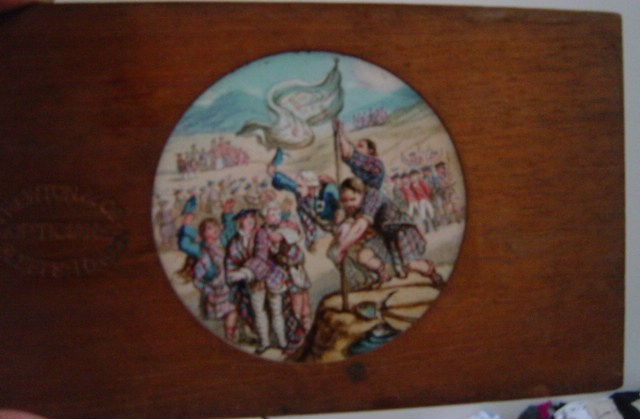 Magic Lantern Slide Wooden Frame , Raising the Standard Scottish