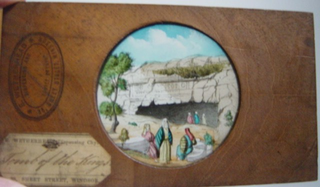 Magic Lantern Slide Wooden Frame , Pool of Bethesda - Wetherhead