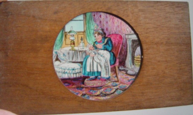 Magic Lantern Slide Wooden Frame , Woman Feeding Child
